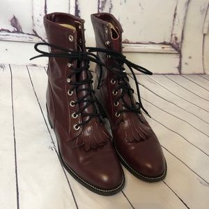 JUSTIN boots burgundy red lace up leather Kiltie 6